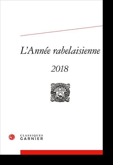 L'Année rabelaisienne. 2018, n° 2. varia