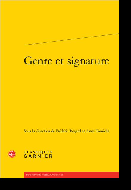 Genre et signature - Préface