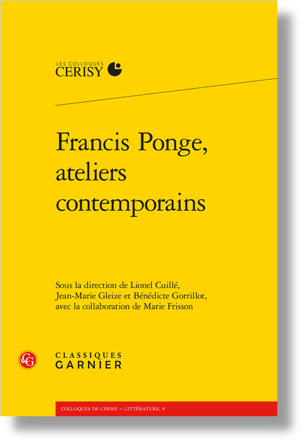 Francis Ponge, ateliers contemporains - Avertissement