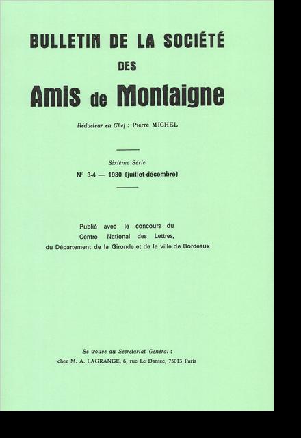 Bulletin de la Société des amis de Montaigne. VI, 1980-2, n° 3-4. varia