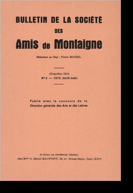 Bulletin de la Société des amis de Montaigne. V, 1972-2, n° 2. varia