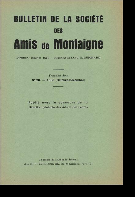 Bulletin de la Société des amis de Montaigne. III, 1963-3, n° 28. varia