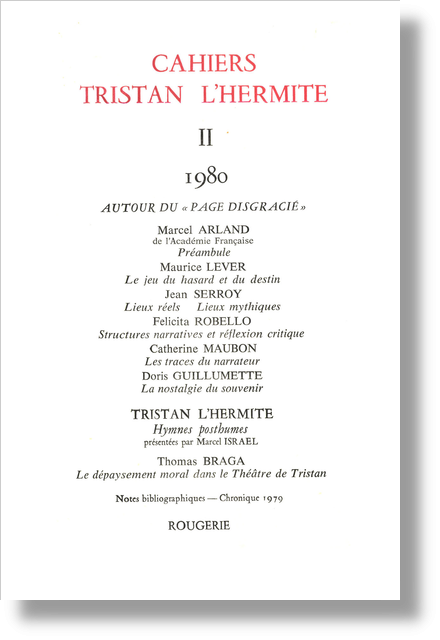 Cahiers Tristan L'Hermite. 1980, II. varia - [Sommaire]