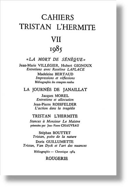 Cahiers Tristan L'Hermite. 1985, n° 7. varia - [Sommaire]