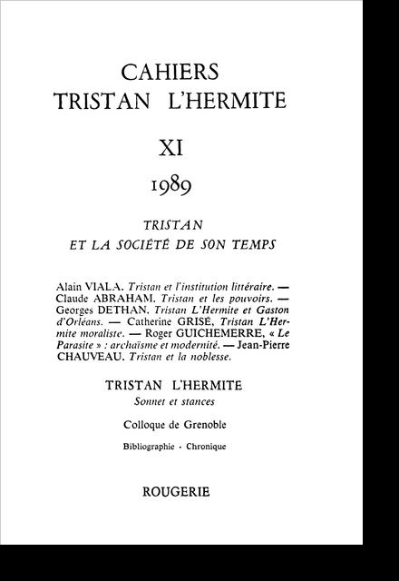 Cahiers Tristan L'Hermite. 1989, n° 11. varia - [Exergue]