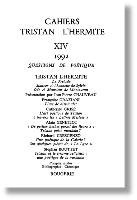 Cahiers Tristan L'Hermite. 1992, n° 14. varia - Tristan et le lyrisme religieux