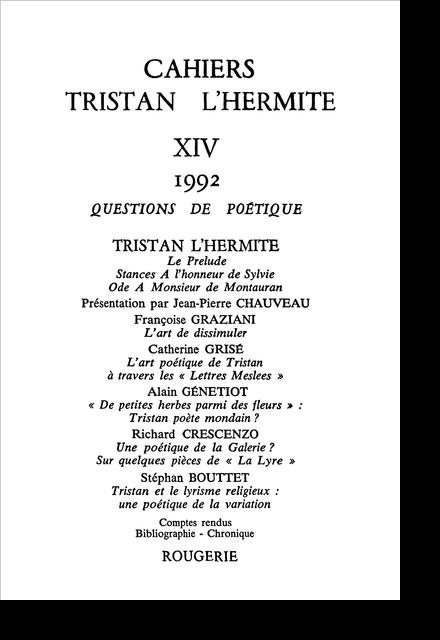 Cahiers Tristan L'Hermite. 1992, n° 14. varia - L'art de dissimuler