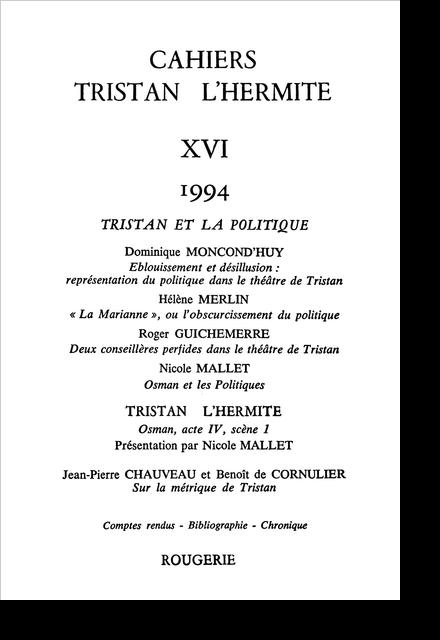 Cahiers Tristan L'Hermite. 1994, n° 16. varia - Osman et les politiques