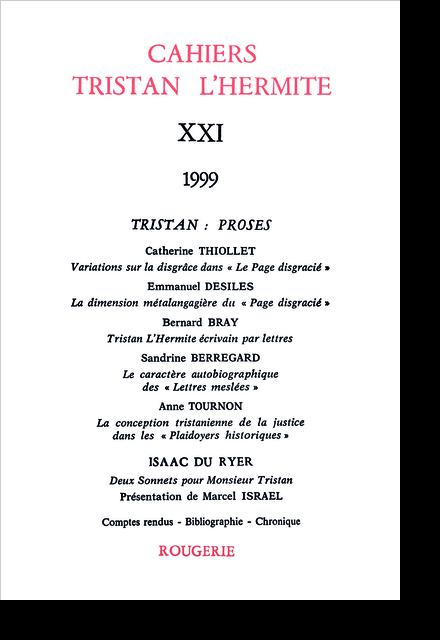 Cahiers Tristan L'Hermite. 1999, n° 21. varia - La dimension métalangagière du Page disgracié