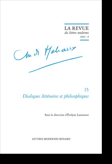 Dialogues littéraires et philosophiques. 2020 – 8