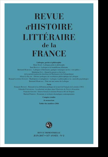 Revue d'Histoire littéraire de la France. 2 – 2017, 117e année - n° 2. varia