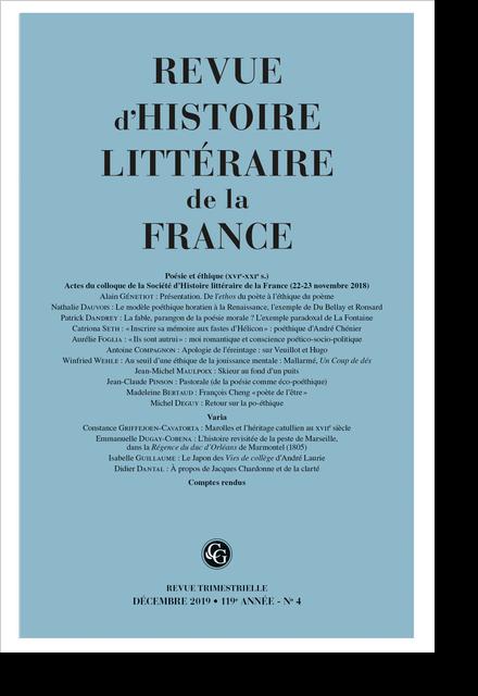 Revue d'Histoire littéraire de la France. 4 – 2019, 119e année - n° 4. varia - La fable, parangon de la poésie morale ?