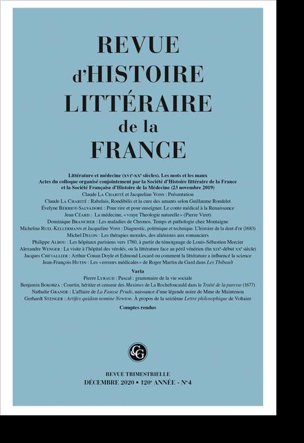 Revue d'histoire littéraire de la France. 4 – 2020, 120e année - n° 4. varia