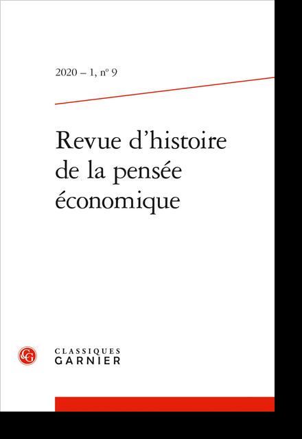 Revue d'histoire de la pensée économique. 2020 – 1, n° 9. varia - Adresses professionnelles des auteurs