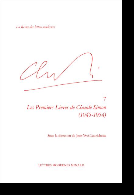 Les Premiers Livres de Claude Simon (1945-1954)