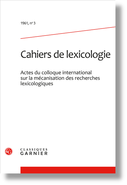 Cahiers de lexicologie. 1961, n° 3. varia - Introduction