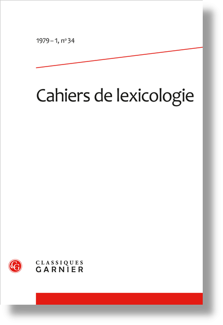 Cahiers de lexicologie. 1979 – 1, n° 34. varia - Statistical methods in synchronic and diachronic classification