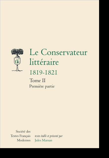Le Conservateur littéraire. (1819-1821)