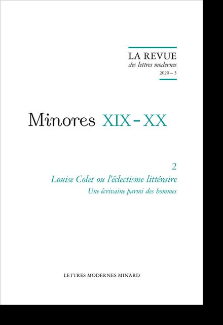 Louise Colet ou l'éclectisme littéraire. 2020 – 5. Une écrivaine parmi des hommes