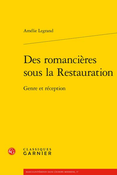 Des romancières sous la Restauration. Genre et réception