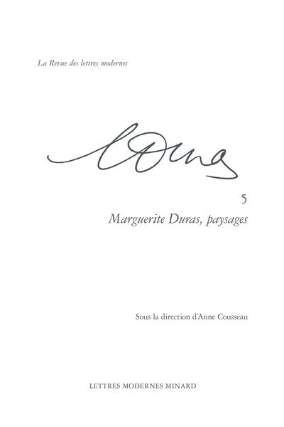 Marguerite Duras, paysages