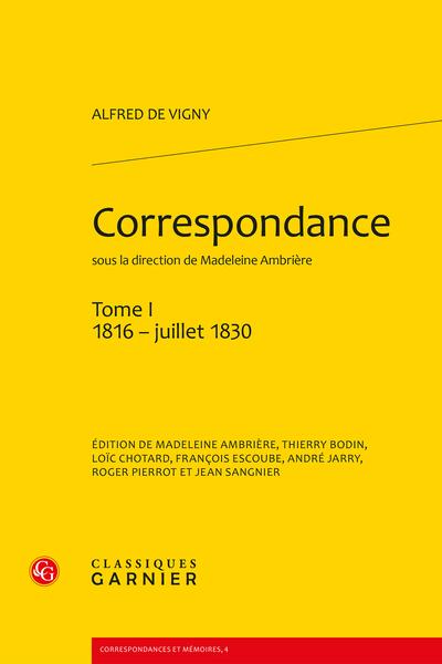 Correspondance. Tome I. 1816 - juillet 1830