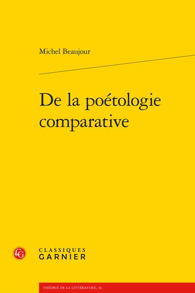 De la poétologie comparative