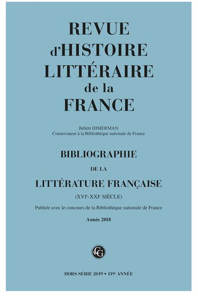 Bibliographie de la littérature française. 2019, Année 2018. varia