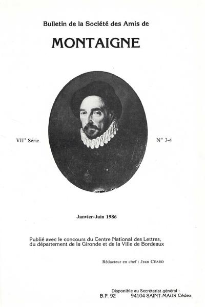 Bulletin de la Société des amis de Montaigne. VII, 1986-1, n° 3-4. varia