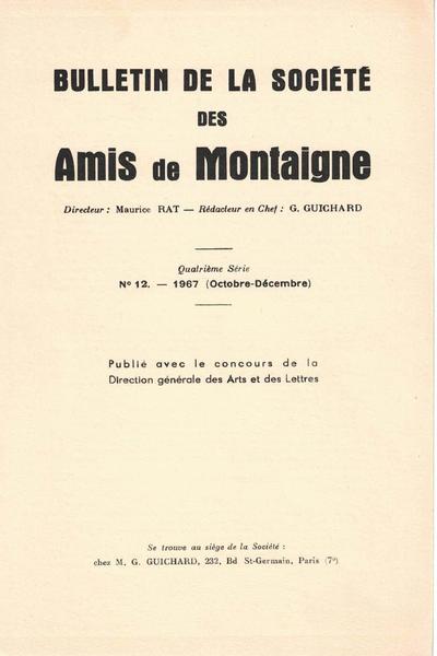 Bulletin de la Société des amis de Montaigne. 1967 – 3, série IV, n° 12. varia