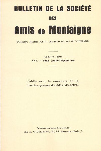 Bulletin de la Société des amis de Montaigne. IV, 1965-3, n° 3. varia