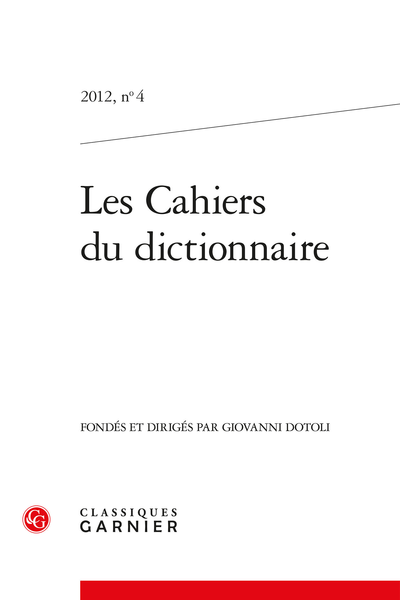 Les Cahiers du dictionnaire. 2012, n° 4. varia - Music and words