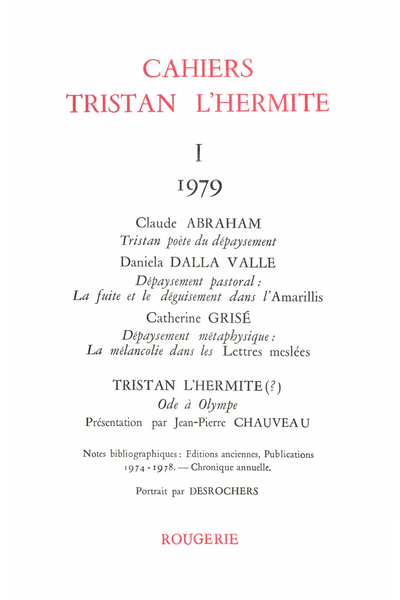 Cahiers Tristan L'Hermite. 1979, I. varia - [Sommaire]