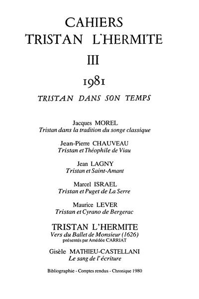 Cahiers Tristan L'Hermite. 1981, n° 3. varia - Comptes rendus / Chronique 1980