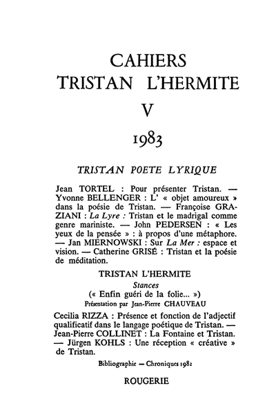 Cahiers Tristan L'Hermite. 1983, n° 5. varia - [Page frontispice de Jacques Stella]