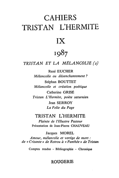 Cahiers Tristan L'Hermite. 1987, n° 9. varia - Le chant mélancolique du berger