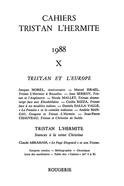 Cahiers Tristan L'Hermite. 1988, n° 10. varia - L'amante anglaise
