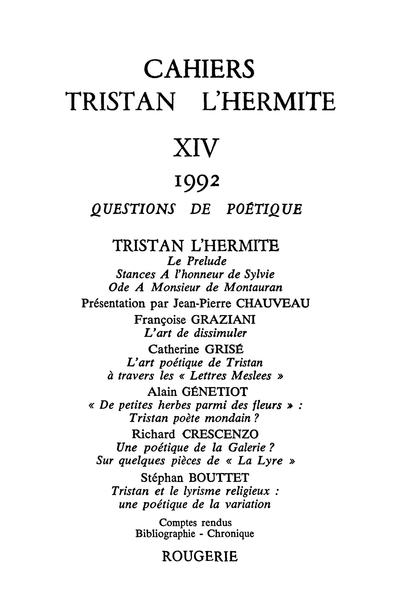 Cahiers Tristan L'Hermite. 1992, n° 14. varia - [Sommaire]