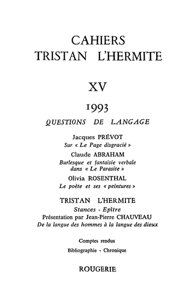 Cahiers Tristan L'Hermite. 1993, n° 15. varia - Chronique