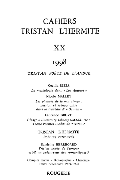 Cahiers Tristan L'Hermite. 1998, n° 20. varia - Glasgow University Library SMAdd. 392