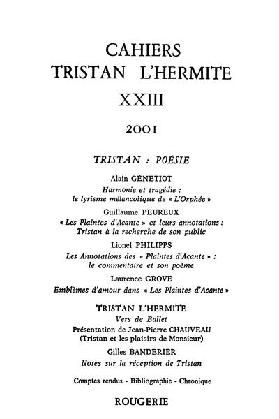 Cahiers Tristan L'Hermite. 2001, n° 23. varia - Notes sur la réception de Tristan