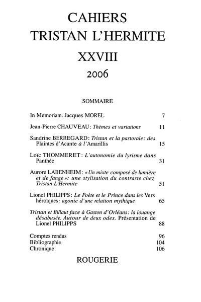 Cahiers Tristan L'Hermite. 2006, n° 28. varia - L'autonomie du lyrisme dans Panthée de Tristan