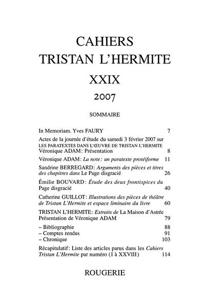 Cahiers Tristan L'Hermite. 2007, n° 29. varia - Sommaire