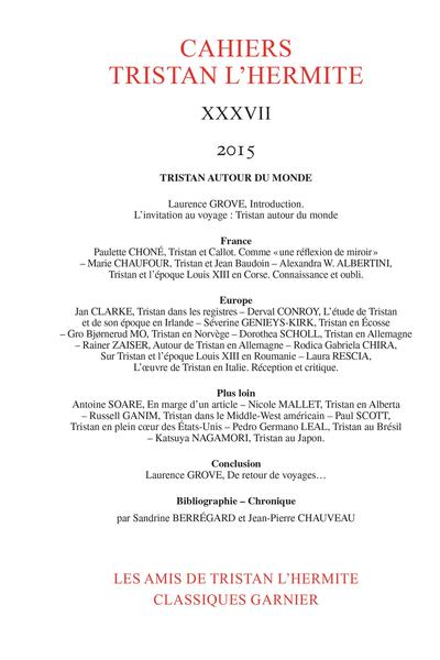 Cahiers Tristan L'Hermite. 2015, XXXVII. Tristan autour du monde