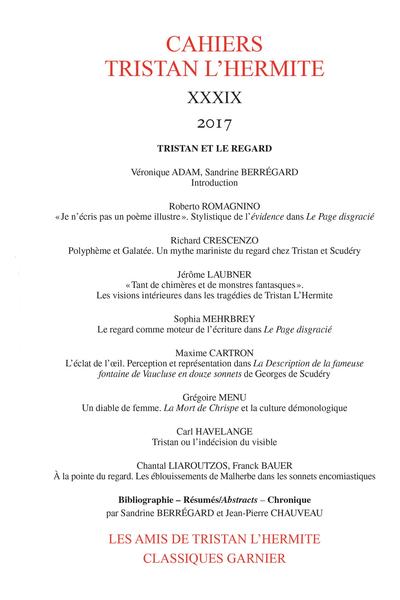 Cahiers Tristan L'Hermite. 2017, XXXIX. Tristan et le regard