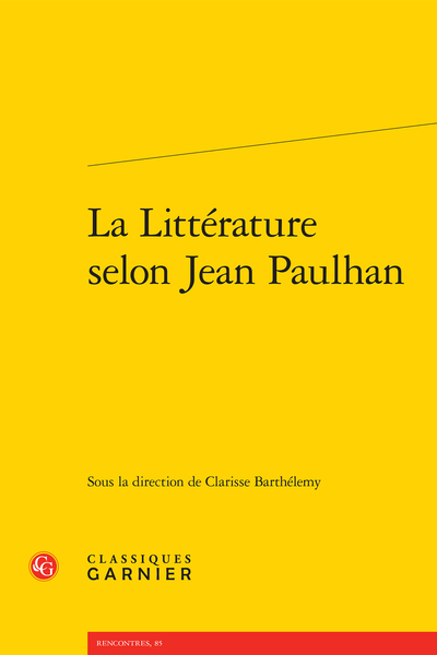 La Littérature selon Jean Paulhan - Index des notions