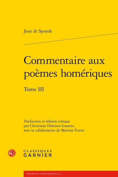 Commentaire aux poèmes homériques. Tome III