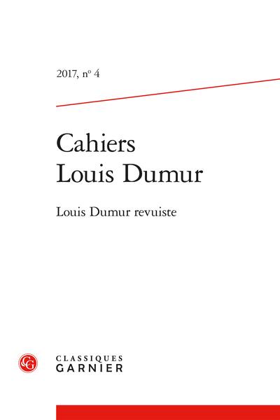 Cahiers Louis Dumur. 2017, n° 4. Louis Dumur revuiste - Index nominum