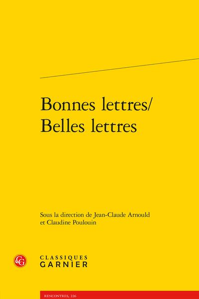 Bonnes lettres/Belles lettres