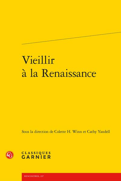 Vieillir à la Renaissance